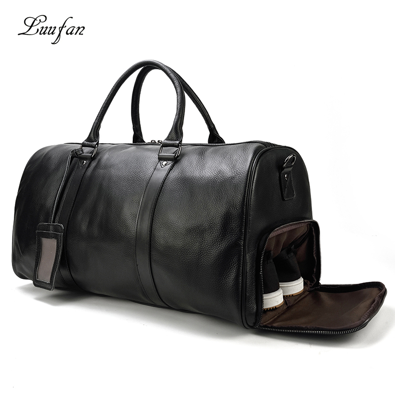 Luufan Genuine Leather Travel Bag Black Brown Travelling Duffle Bag Large Size For Flight Business Trip 100% Natural Cow Skin