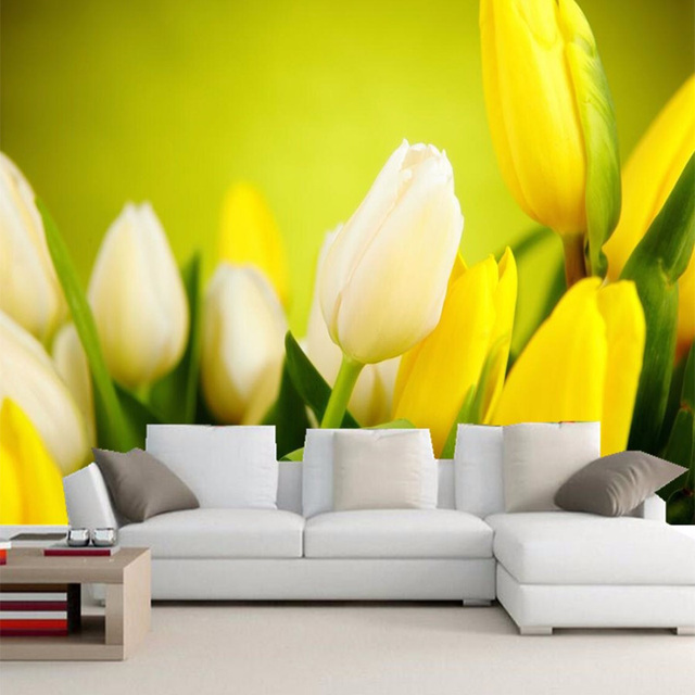 Tulip Rose Wall Art Painting For Kitchen Room Golden: 3D Wallpaper Beautiful Flowers Yellow Tulips Photo Murals