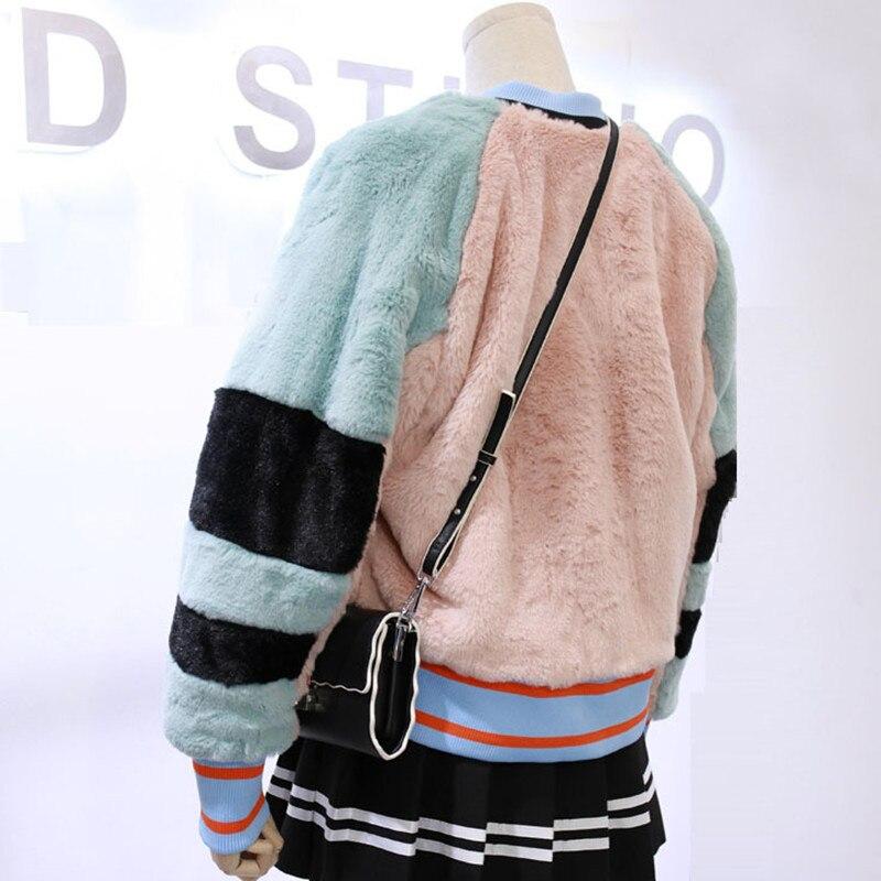 Akslxdmmd Décontracté 2019 Mode Femmes Étudiant Femelle Nouveaux Fourrure Chaud De Faux Lh1344 Lâche Patchwork Veste Hiver Pink Épais Manteau QWrdxeCEBo