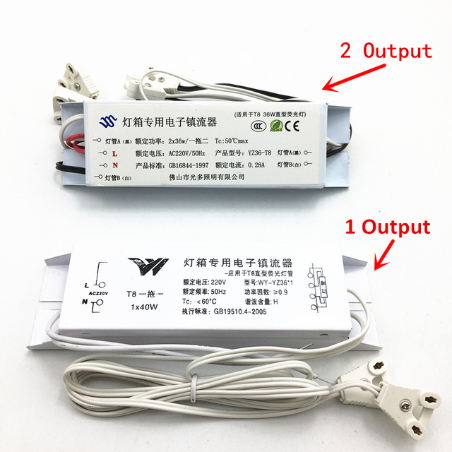 T8 Electronic Ballasts 20w 30w 36w 40w Universal 220V 50Hz Neon Lamp Ballast Fluorescent Lamps Rectifier 1 Output/2 Output CE UL