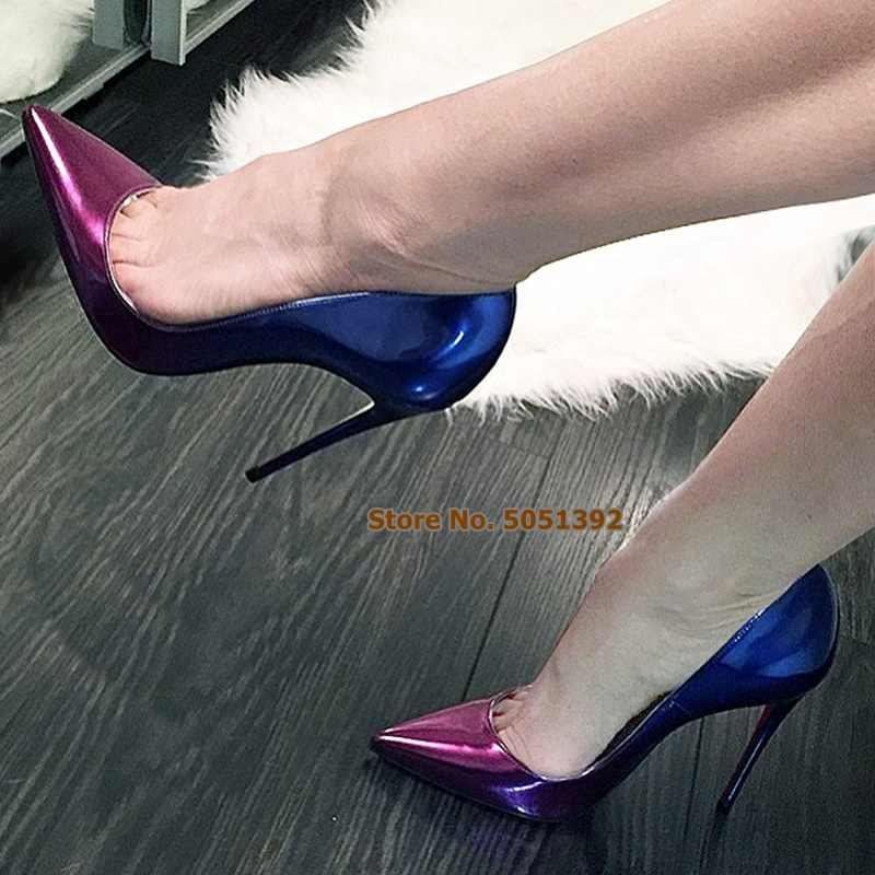 Women Super High Heel Gradient Pointed Toe Stiletto Pumps Mixed-colors Shallow Sexy Patent Leather Banquet Plus Size Shoes