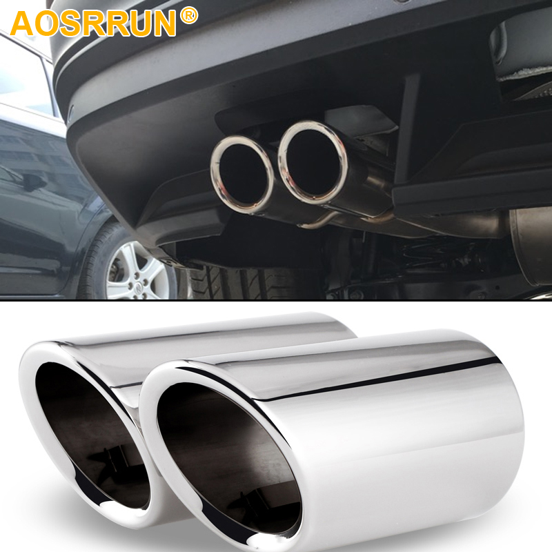 AOSRRUN Stainless steel Car exhause Tail throat pipe Car Accessories car styling For Volkswagen VW Tiguan MK2 2017 2018
