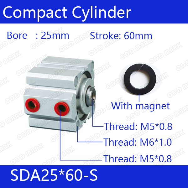 SDA25*60-S Free shipping Bore 60mm Stroke Compact Air Cylinders SDA25X60-S Dual Action Air Pneumatic Cylinder, Magnet sda16 70 s free shipping 16mm bore 70mm stroke compact air cylinders sda16x70 s dual action air pneumatic cylinder magnet