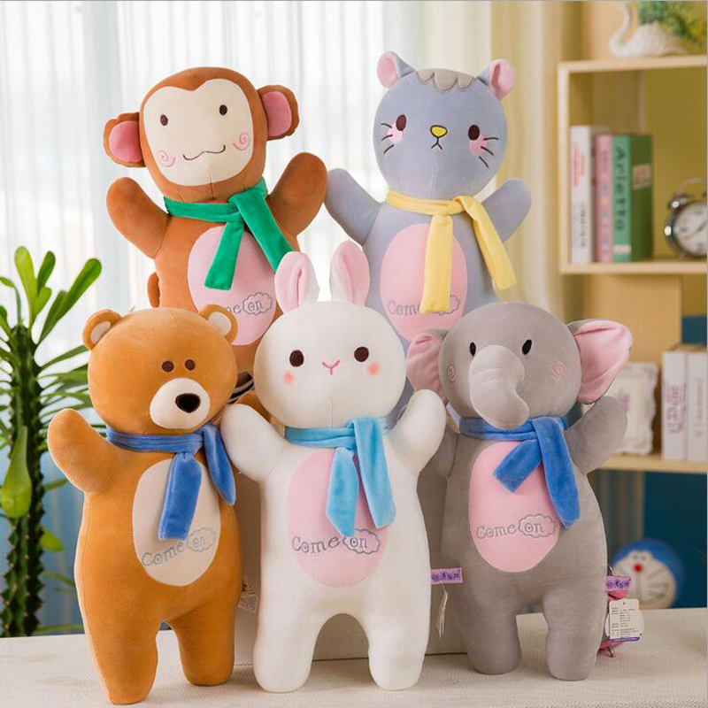 Cartoon Rabbit Monkey Elephant Bear Cat Plush Toy Stuffed Doll Pillow Children Birthday Gift