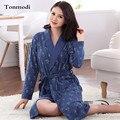 Idosos mulher Roupa de Dormir de Algodão espessamento robe de manga Longa primavera outono robe Plus Size 3XL