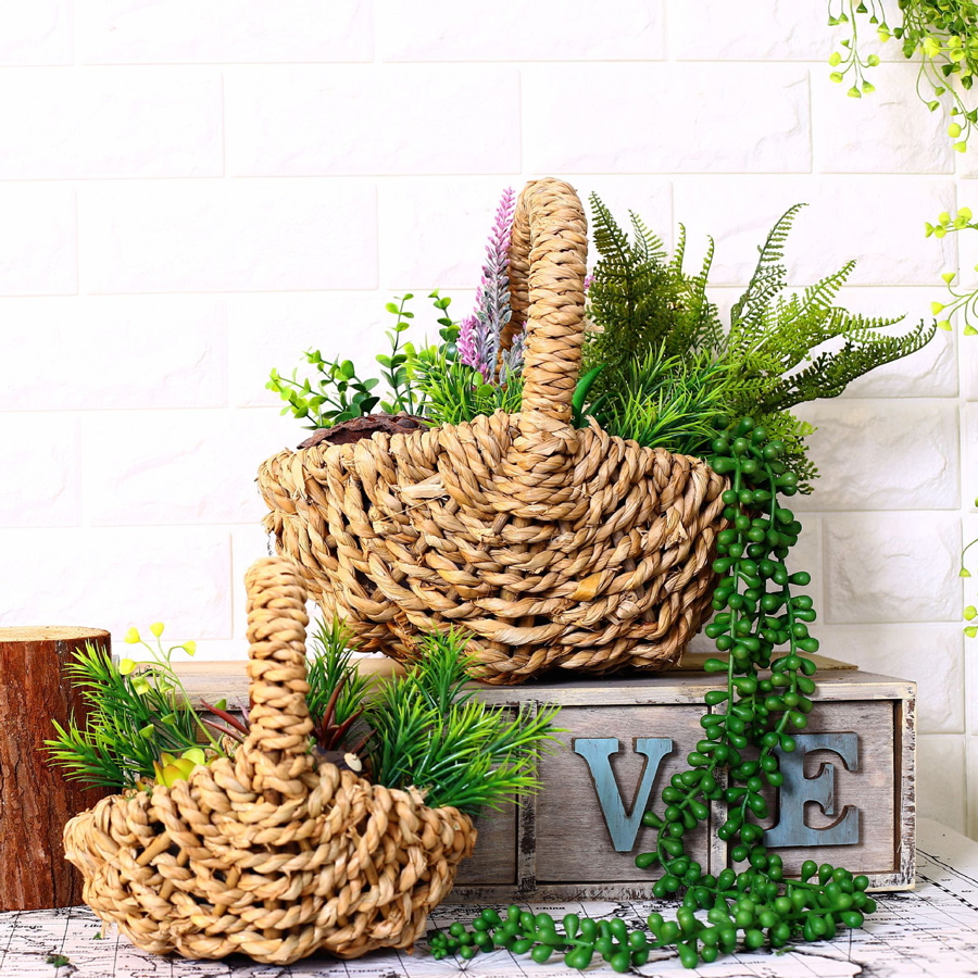 Rattan <font><b>flower</b></font> Baskets do old wicker handicrafts retro home <font><b>flower</b></font> arranging accessories hand basket for artificial plants