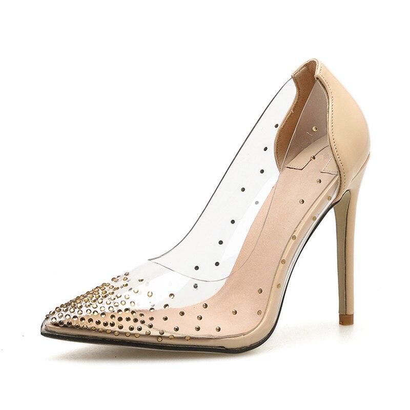 Talons Profonde Black Chaussures Transparent Printemps Nouveau Cristal Arrivent Noce Pompes Femmes Automne Haute Luxe Slip apricot De Sexy red Peu on kOiTXuPZ