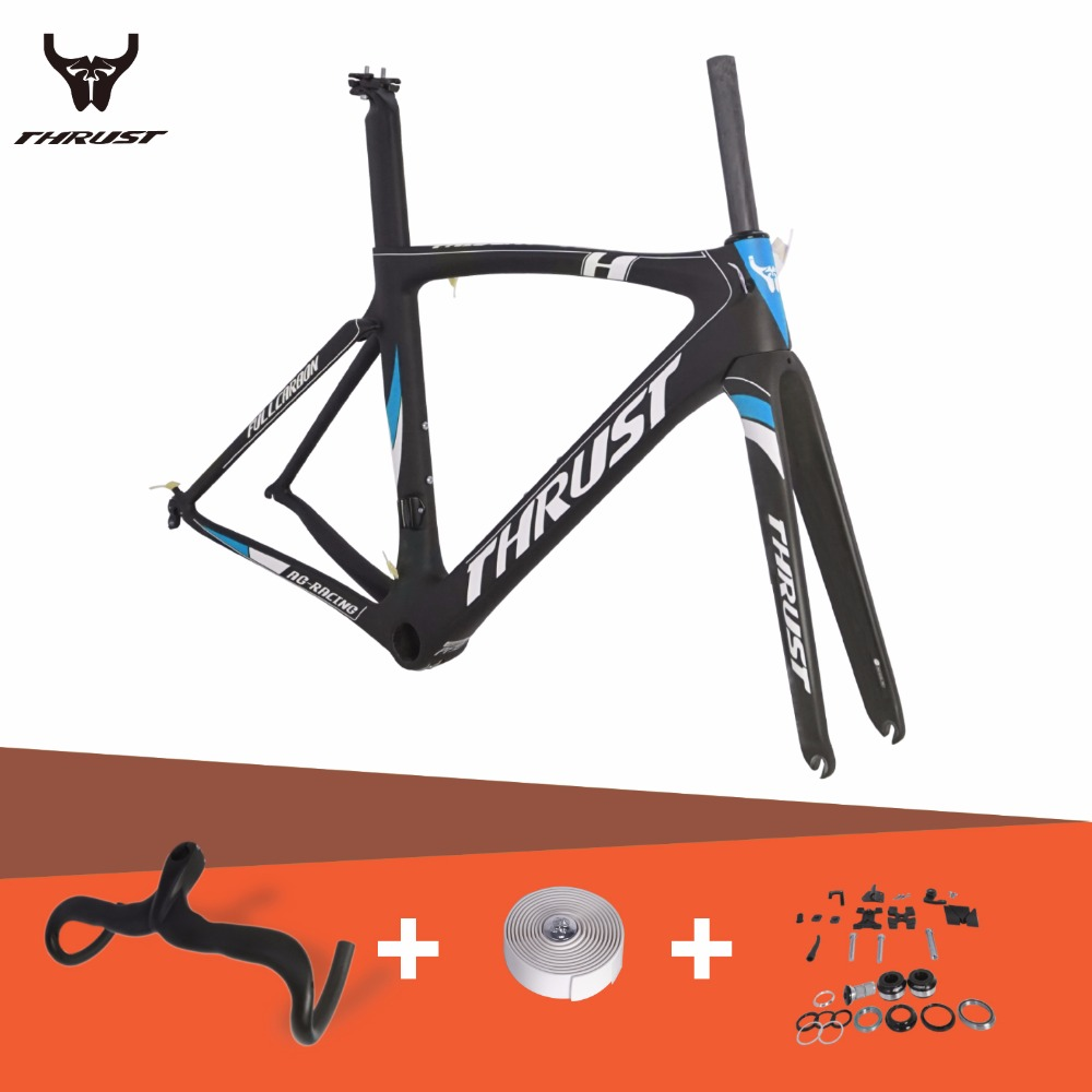 THRUST Carbon Road Frame Road Bike Frame 46 49 52 5 56 58cm Carbon Fiber Bicycle Frame set with Integrated Handlebar 7 Colors carbon road frame 2017 high quality ud carbon road bike bicycle frame 49 52 54 56 58cm carbon frame red yellow bicycle parts