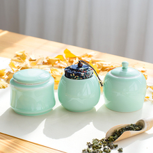 Brief Solid Color Porcelain Tea Jar with Lid Kit Home Tea Ceremony Accessories Ceramic Tieguanyin Black Tea Storage Seal Tanks(China)
