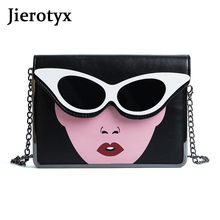 JIEROTYX Fashion Beauty Sunglasses Printing Bag Flap Cover Messenger Bag Women Sac A Main Femme De Marque Luxe Cuir Shoulder Bag стоимость