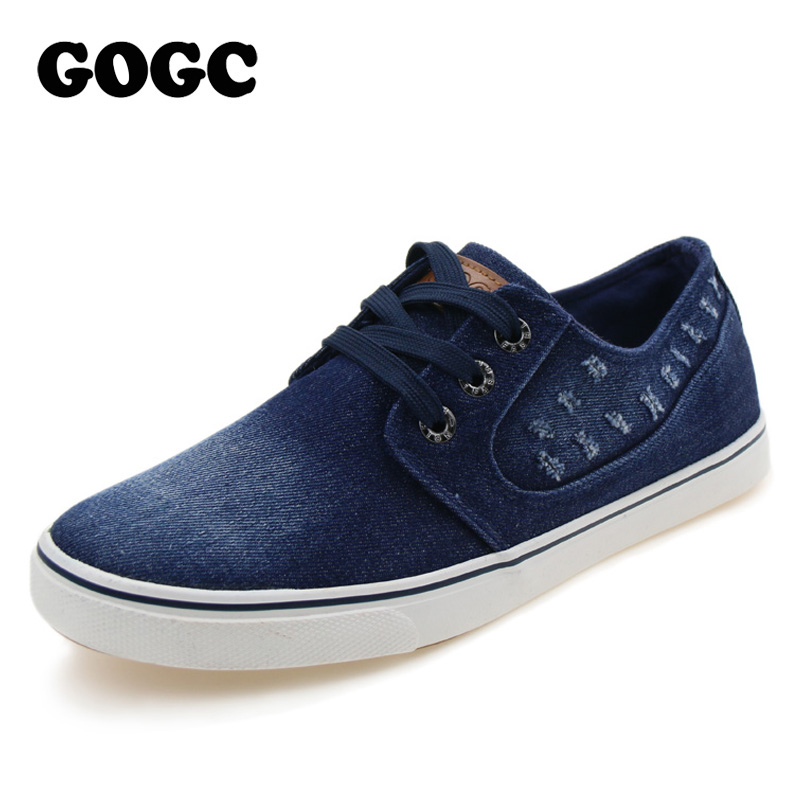 GOGC 2018 New Denim Shoes Men Flats Fashion Comfortable High Quality Lace-up Men Shoes Lace up Canvas Casual Shoes Slipony Men eyelet lace up detail denim jacket