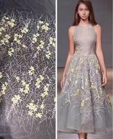 Hot Sale Tulle Lace High Quality African Lace Fabrics Floral Yellow Red Grey Aso Ebi Wedding
