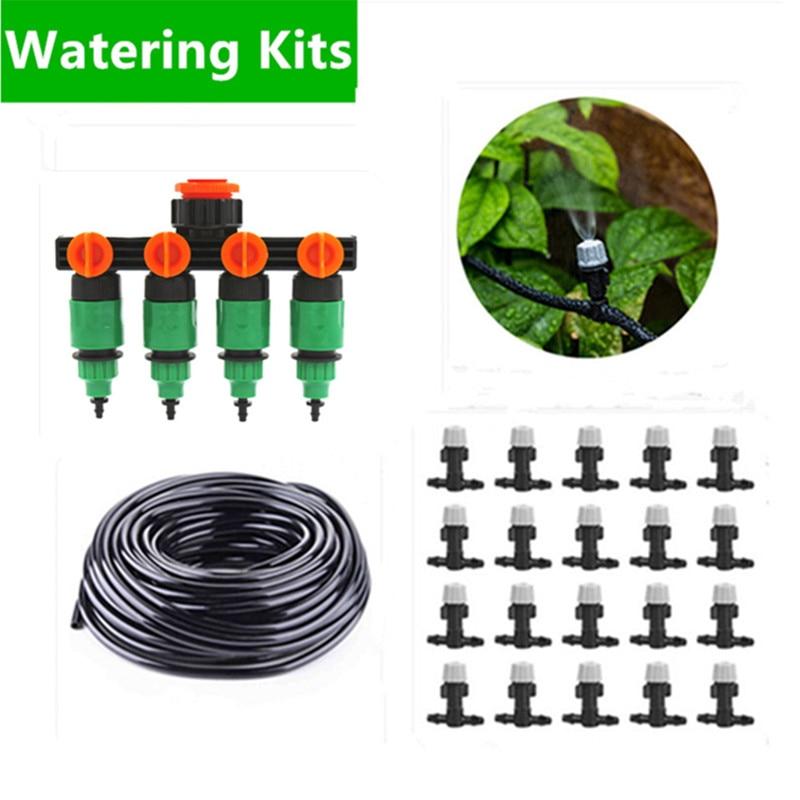50 m Jardin DIY Micro Drip Irrigation System Plantes Auto Automatique Minuterie D'arrosage Tuyau D'arrosage Kits Avec Réglable Goutteur BN01
