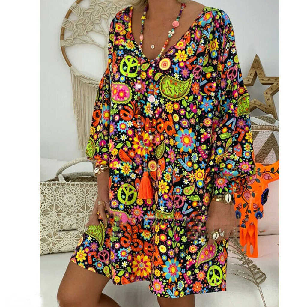 Women Summer Dress Flare Sleeve V Neck Boho Short Mini Dress Evening Party Beach Dresses Vestidos Sundress