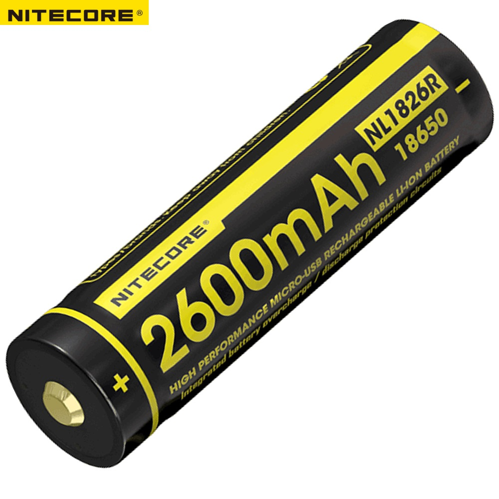 Nitecore NL1826R 2600mAh 3.6V Micro-USB Rechargeable Li-ion 18650 Battery with Charging Port