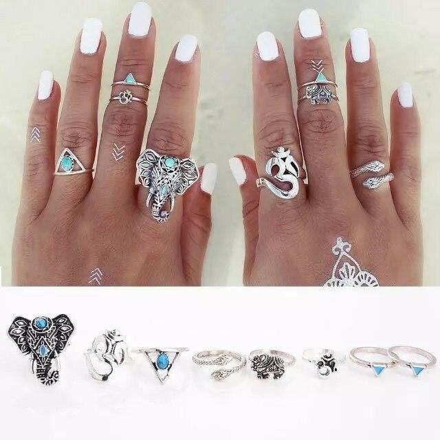 saatleri 2017 8PCS/Set Vintage Ethnic Bohemian Ring Elephant Midi Ring Set Turquois Punk Women Jewelry Geometry Rings for Women