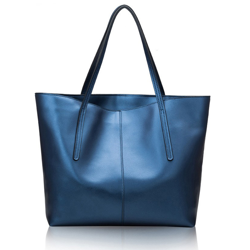 Luxury Genuine Leather Women Bag Big Handbag Blue Fashion Top-handle Hand Bag Ladies Tote Large Shoulder Bag silver New 2017 dark blue zippered faux leather handle conference file contract bag container