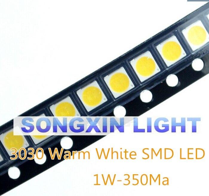 100 pçs/lote 1W SMD 3030 LED Talão Lâmpada 110-120lm Branco Quente SMD LED Contas Chip De LED Lâmpada Luz 1w 3030 WW levou 6v