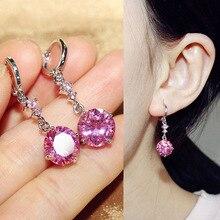 Fashion Top Grade 10mm Round AAA Cubic Zirconia Dangle Earrings Pink Stone Drop Earrings For Women Party Jewelry