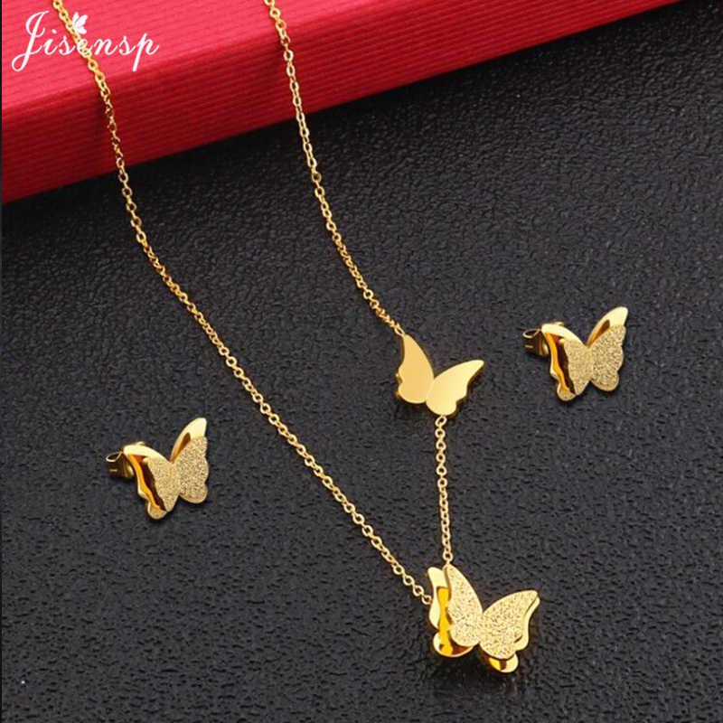 Jisensp זהב מט פרפר עגילי שרשרת תכשיטי סטים עבור בנות ילדי נירוסטה תכשיטי ילדים מתנה סיטונאי