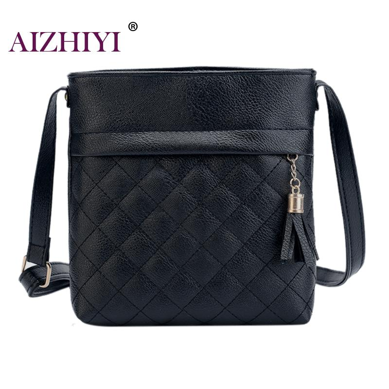 купить Small Tassel Bag Women Messenger Bags Fashion Lattice Ladies Soft PU Leather Shoulder Crossbody Bag Handbag Bolsa Feminina по цене 318.91 рублей
