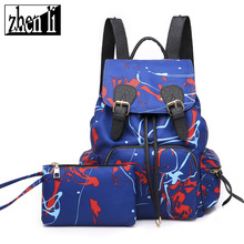 New backpack womens nylon graffiti Korean European and American high-capacity couples travel bags