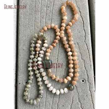 Custom Necklace Long Layering Labradorite, Sunstone and Moonstone Beads Hand Knoted Necklace NM23952 - DISCOUNT ITEM  0% OFF All Category