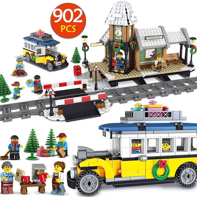 Создатели зимняя деревня станция Compatibe LegoINGLYS Рождество поезд 10259 модель здания архитектурные блоки игрушка для детей