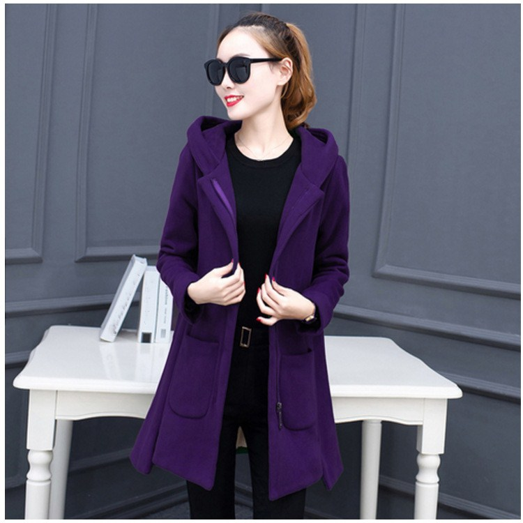 Fashion Autumn Ladies Casual Pocket Wool Outwear Cotton Hoodies Blends Overcoat Solid Loose Student Thicken Coat