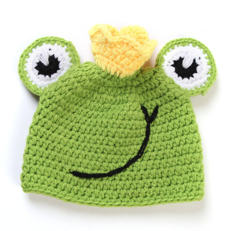8f131f1f02e Baby Frog Hat   Diaper Cover Set Boy Girl Newborn Crochet Knit Frog Prince  Beanies Photo Props Outfit Halloween H093-in Hats   Caps from Mother   Kids  on ...