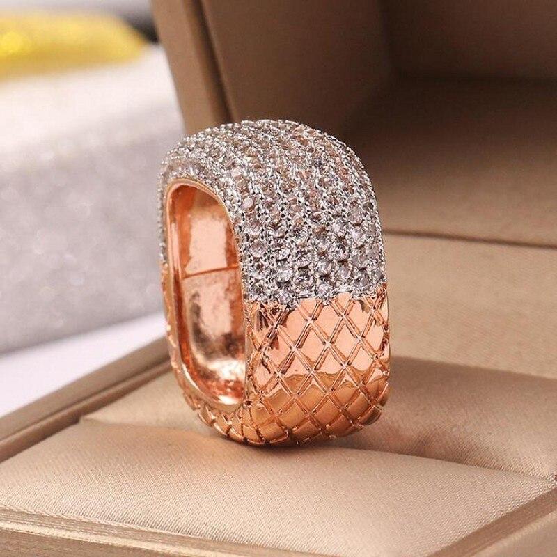2019 nouveauté bijoux de mode chaude 925 en argent Sterling et or remplir Double couleur pavé 5A zircon cubique femmes bague de mariage - 4