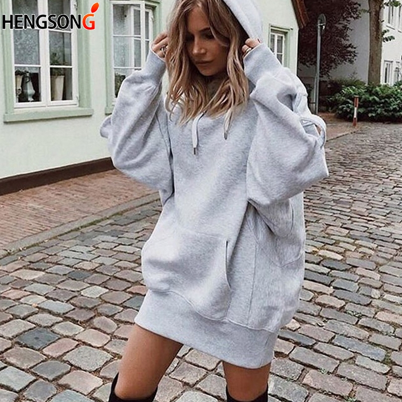 Fashion Autumn Women Long Sleeve Hooded Sweatshirt Jumper Solid Top Front Pocket Sudadera Mujer Casual Long Hoodies Pullover