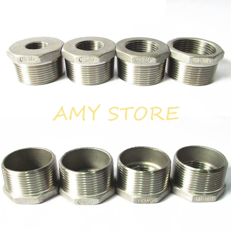 """1-1//4/"""" Male x 1/"""" female BSPT HEX REDUCING BUSH STAINLESS STEEL PIPE FITTINGS"""