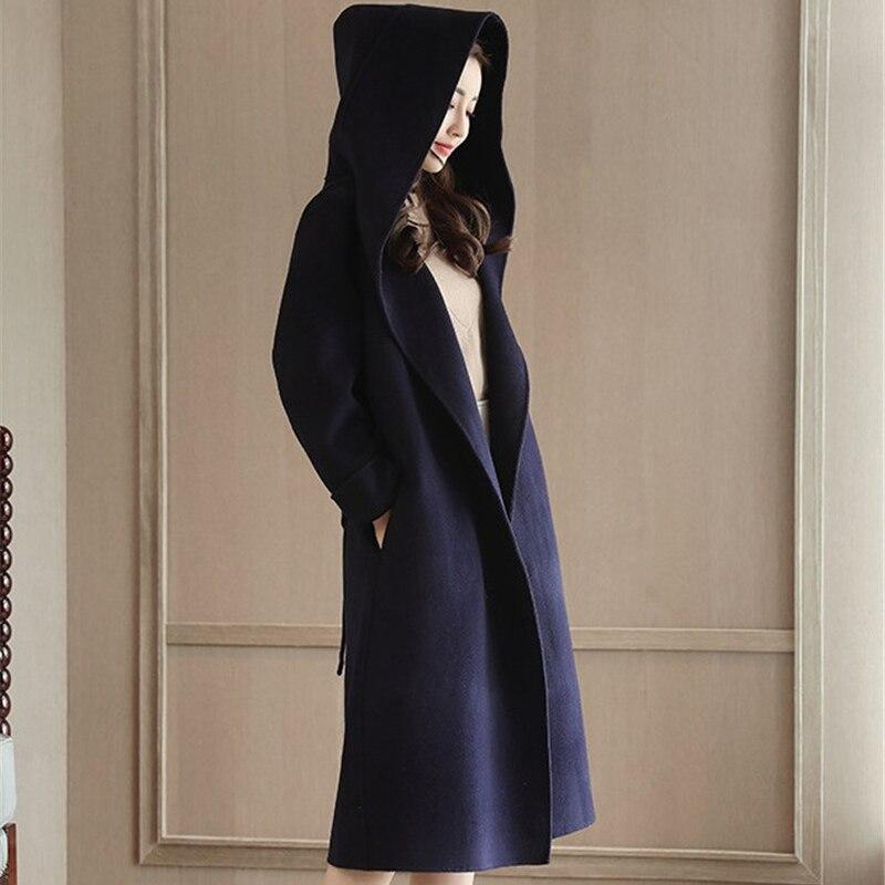 Laine Foncé Coton Mode Manteau Plus Manteaux Slim Épaissir Automne dark Khaki Longue Ceinture Tops De Femme Femmes Kaki Blue Hiver À Capuche Bleu rSxwSIaHUq