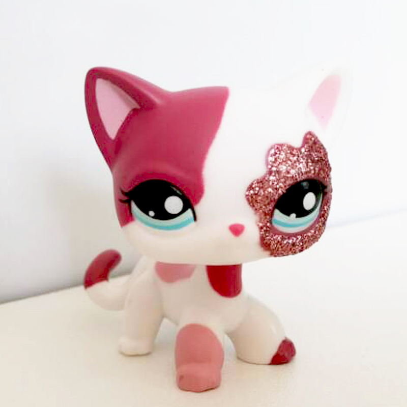 US $3 49 |pet shop lps toys pet shop lps toys standing littlest Short Hair  Cat #2291 White Pink Glitter kitty-in Action & Toy Figures from Toys &