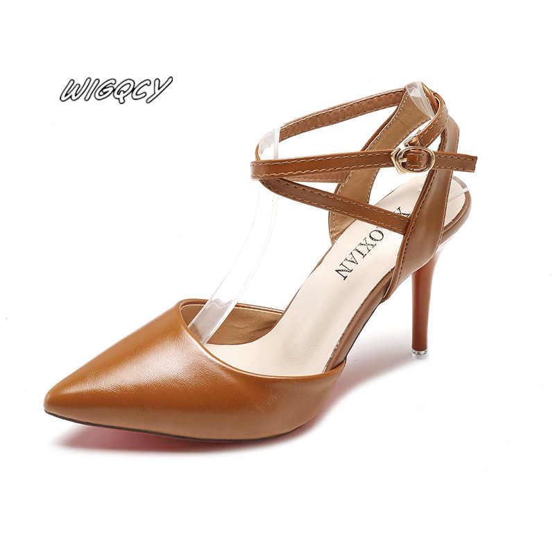 Nieuwe dames woord gesp met sexy stiletto hakken mode vrouwelijke merk designer ontwerp dunne riem combinatie Baotou hoge hakken