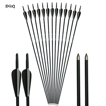 12pcs 31 Inch OD 7.8mm Practice Fiberglass Arrows Archery for Compound Recurve Bow Hunting Shooting Sport Fixed Arrowhead Arrows