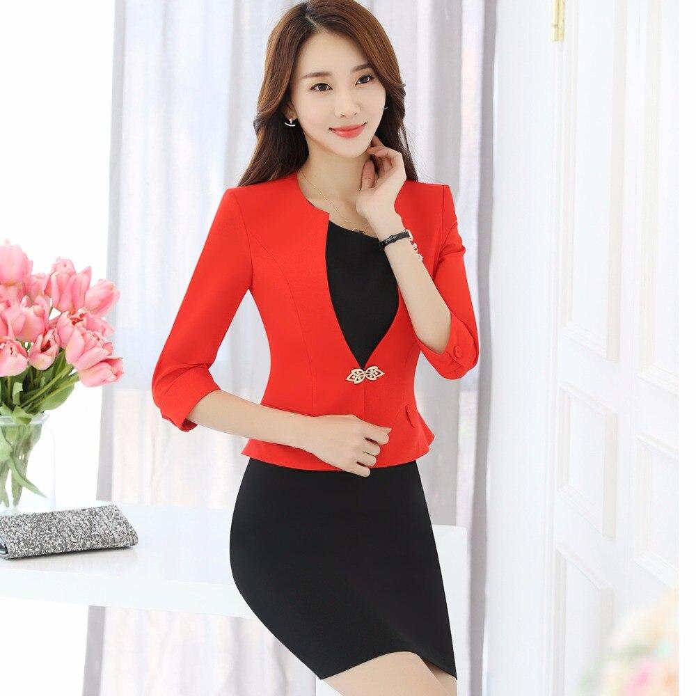 Black Deux orange Avec Seul Jupe Lady Bouton Office Slim Blazers Entreprise New Formelle Costumes Pièces Femmes Summer green 2018 Ensemble qpT46C