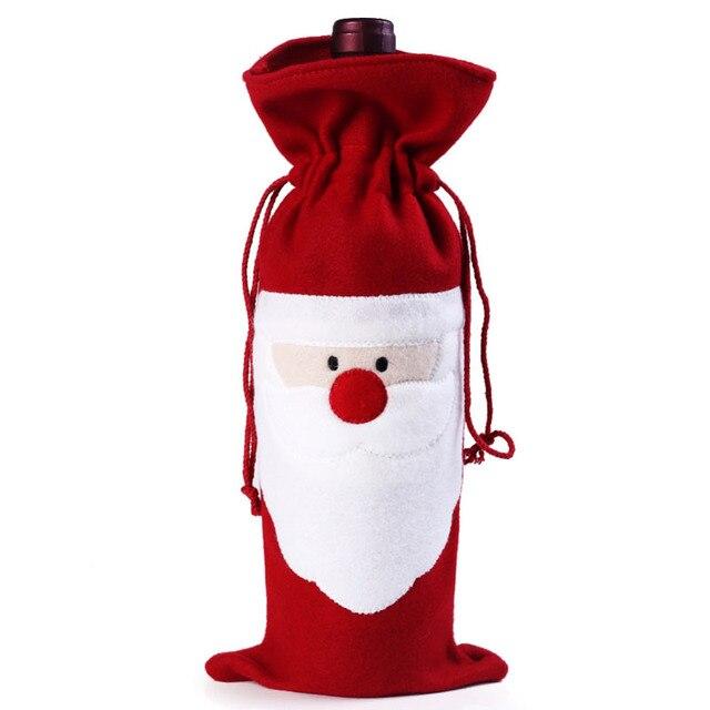 Weinflasche Abdeckung Tasche Dekoration Home Party Weihnachtsmann Weihnachten Party Dinner Dekoration Party Natale