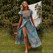 ZOGAA Women Summer Boho Beach Dress Ladies V Neck Floral Print Elegant Sundress Evening Party Bohemian Long Split Vestidos