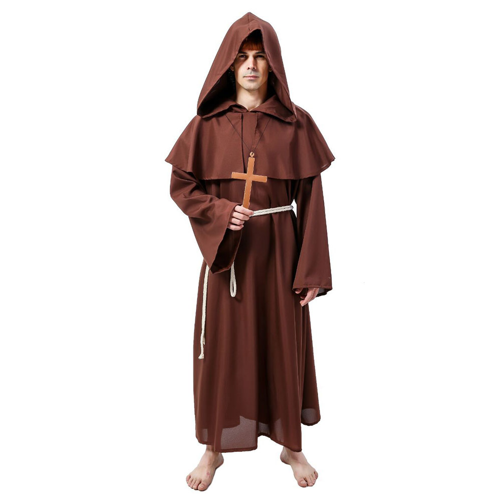 Halloween Costume for Adult Men Father Priest Costumes Medieval Father Monk Hooded Robes Priest Pastor Christian Church Cosplay