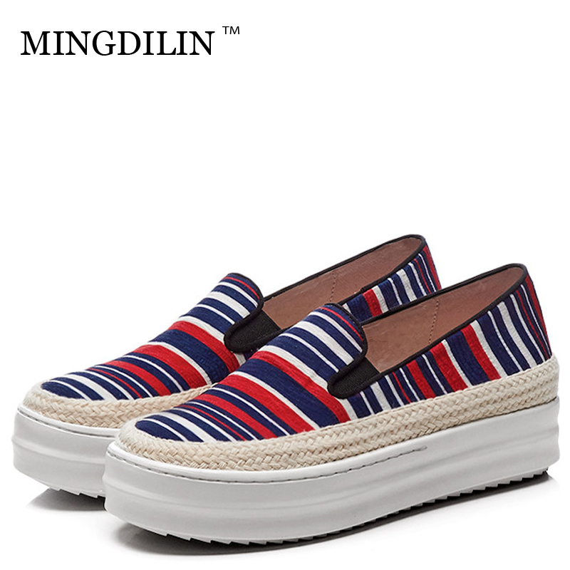 MINGDILIN Women's Flat Platform Shoes Woman Stripe Casual Platform Shoes Fashion Plus Size Loafers Green Red Platform Shoes 2018 fashion tassels ornament leopard pattern flat shoes loafers shoes black leopard pair size 38