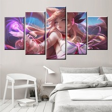 5 Panel LOL League of Legends Ahri Game Canvas Printed Painting For Living Room Wall Art Decor HD Picture Artworks Poster