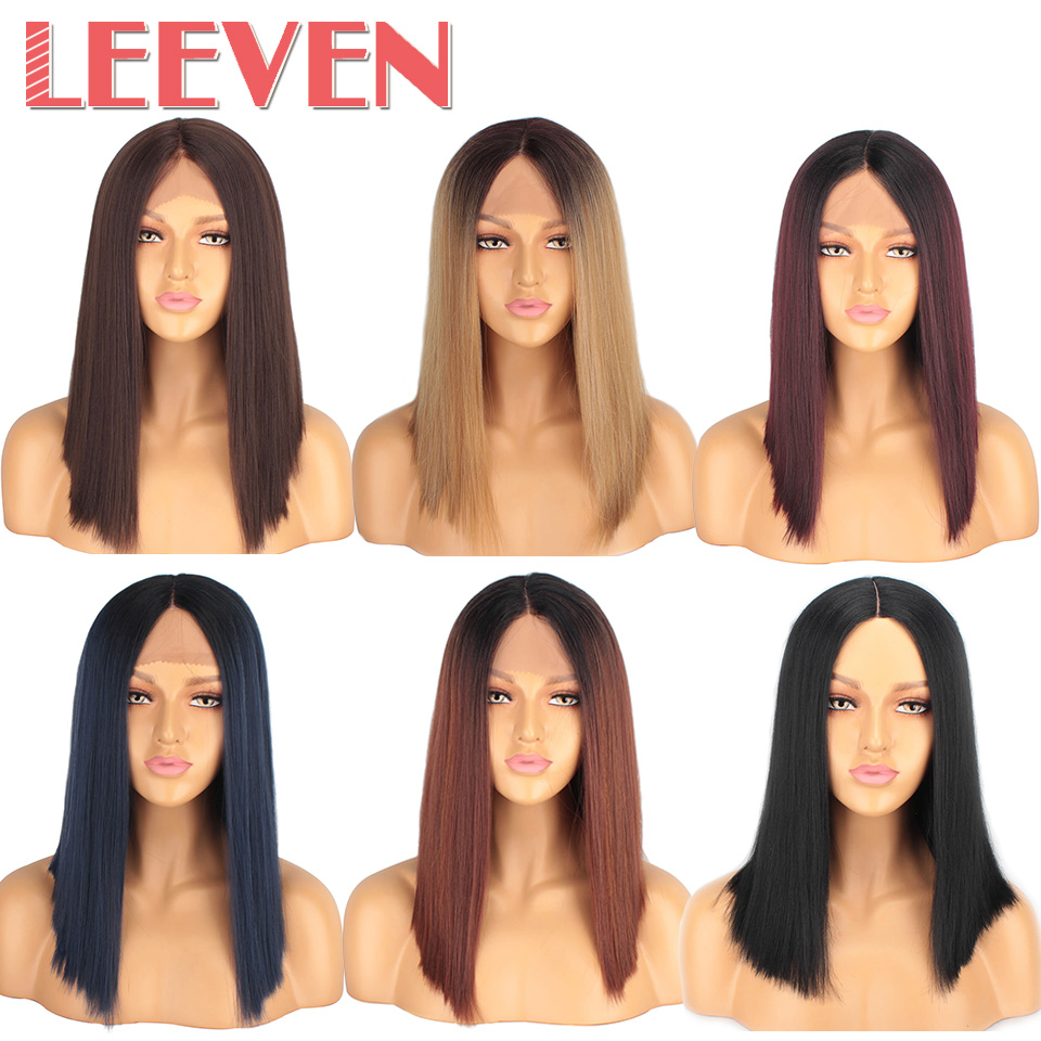 Leeven Hair 14inch Synthetic Lace Front Wig Short Straight Bob Wigs For Woman Black Brown Classic Middel Part Free Shipping 4