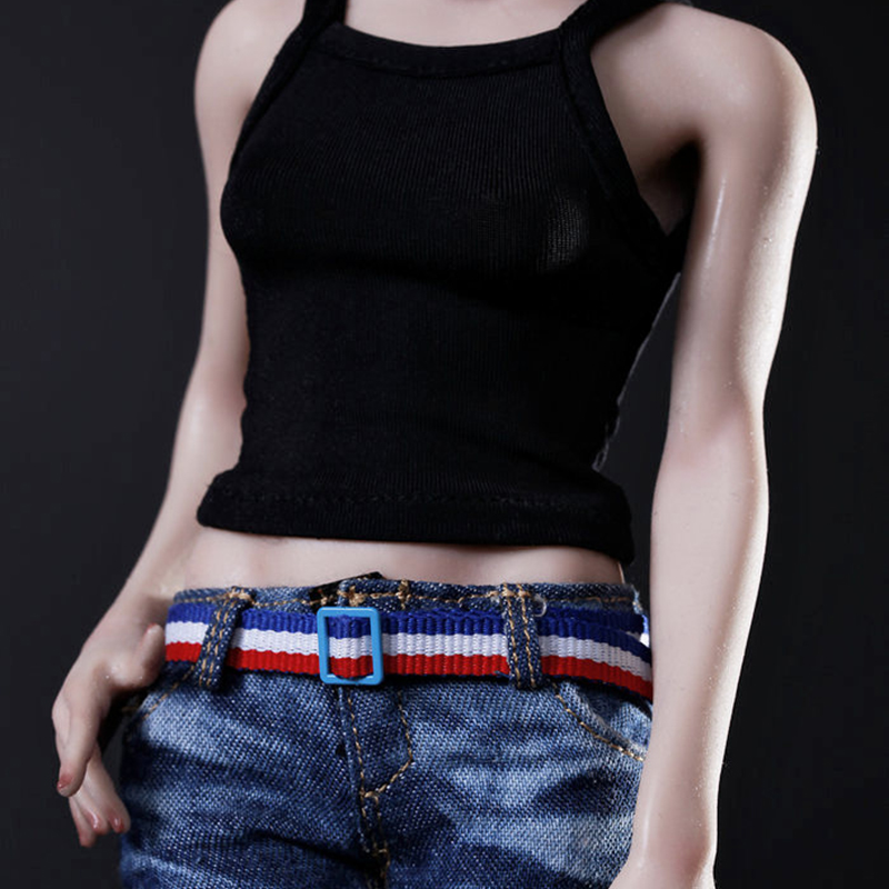 "1:6 Blue PU Leather Waist  belt F 12/"" Female Male Action Figure Accessories"