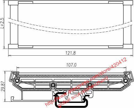 UM107 profil PCB rentang Panjang: 151 ~ 200mm DIN Rel Pemasangan Pembawa PCB mount adapter PCB perumahan