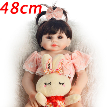 19inch Reborn Baby Doll vinyl silicone Infant Educational Beautiful girl Toys Kids gift real blue brown eyes Bebe Reborn doll