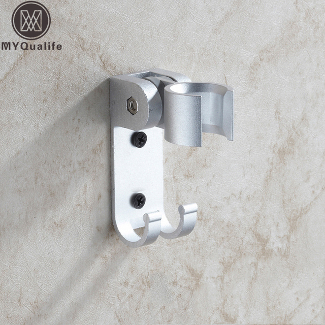 Free Shipping Bathroom Aluminum Hand Shower Holder Wall Mounted Angle  Adjustable Handheld Bracket With Hooks