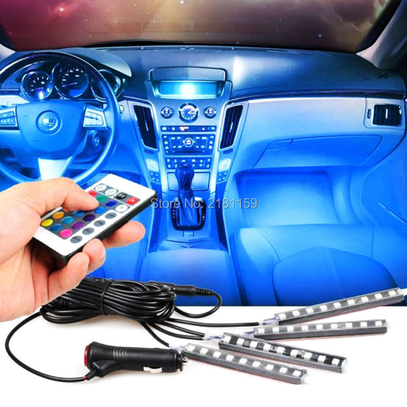 wireless remote music voice control car led interior light rgb led neon car lamp strip. Black Bedroom Furniture Sets. Home Design Ideas