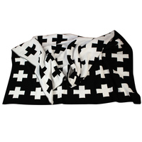 Baby Blanket Black White Cute Rabbit Swan Cross Knitted Plaid For Bed Sofa Bedding Stroller Blanket